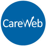 "Logo of IHIE's CareWeb product. Logo is blue with white lettering that reads ""CareWeb"""