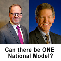 "Headshots of John Kansky and Keith Kelley. Caption reads ""Can there be ONE National Model?"""